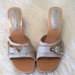 Celine Wood Block Slide Heels